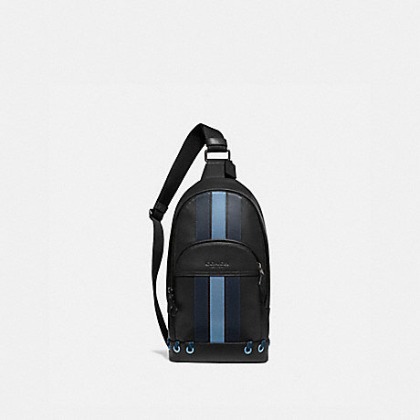 COACH F76867 HOUSTON PACK WITH BASEBALL STITCH BLACK/ MIDNIGHT NAVY/ WASHED BLUE/BLACK ANTIQUE NICKEL