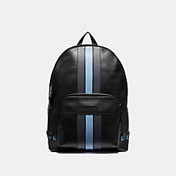 HOUSTON BACKPACK WITH BASEBALL STITCH - F76868 - BLACK/ MIDNIGHT NAVY/ WASHED BLUE/BLACK ANTIQUE NICKEL