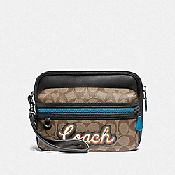 COACH F76869 Terrain Pouch In Signature Canvas With Coach Script TAN/BLACK ANTIQUE NICKEL