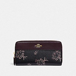 COACH F76870 - ACCORDION ZIP WALLET WITH RIBBON BOUQUET PRINT IM/BLACK PINK MULTI