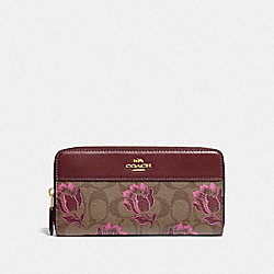 COACH F76871 Accordion Zip Wallet In Signature Canvas With Desert Tulip Print IM/KHAKI PINK MULTI