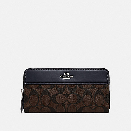 COACH F76873 ACCORDION ZIP WALLET IN SIGNATURE CANVAS SV/BROWN MIDNIGHT