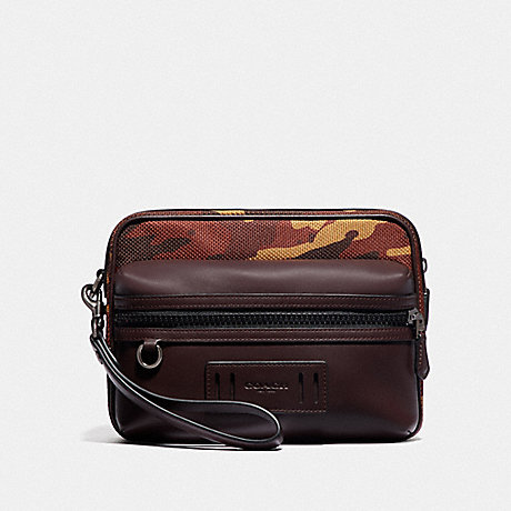 COACH F76874 TERRAIN POUCH WITH CAMO PRINT RUST/BLACK ANTIQUE NICKEL