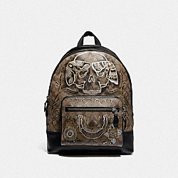 COACH F76877 West Backpack In Signature Canvas With Chelsea Animation TAN/BLACK ANTIQUE NICKEL