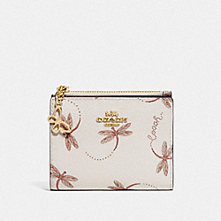 COACH F76879 Snap Card Case With Dragonfly Print IM/CHALK MULTI