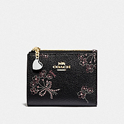 COACH F76880 Snap Card Case With Ribbon Bouquet Print IM/BLACK PINK MULTI