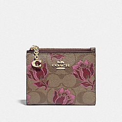SNAP CARD CASE IN SIGNATURE CANVAS WITH DESERT TULIP PRINT - F76881 - IM/KHAKI PINK MULTI