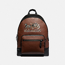 WEST BACKPACK WITH CHELSEA ANIMATION - F76890 - SADDLE MULTI/BLACK ANTIQUE NICKEL