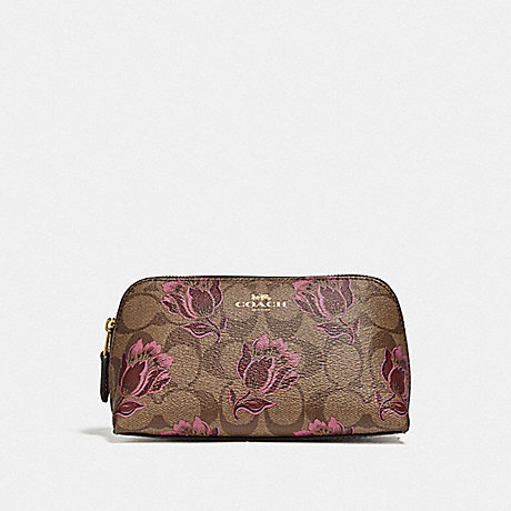 COACH F76899 COSMETIC CASE 17 IN SIGNATURE CANVAS WITH DESERT TULIP PRINT IM/KHAKI PINK MULTI