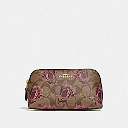 COSMETIC CASE 17 IN SIGNATURE CANVAS WITH DESERT TULIP PRINT - F76899 - IM/KHAKI PINK MULTI