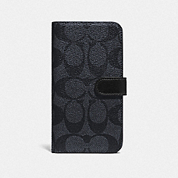 COACH F76902 Iphone X/xs Folio In Signature Canvas CHARCOAL/BLACK ANTIQUE NICKEL