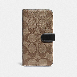 IPHONE X/XS FOLIO IN SIGNATURE CANVAS - F76902 - TAN/BLACK ANTIQUE NICKEL