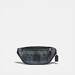 COACH F76903 - WARREN BELT BAG WITH GRUNGE PLAID PRINT AND STUDS QB/DENIM
