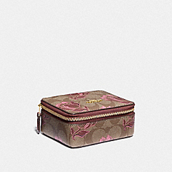 COACH F76913 Jewelry Box In Signature Canvas With Desert Tulip Print IM/KHAKI PINK MULTI