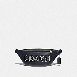 COACH F76925 Warren Belt Bag With Coach Script MIDNIGHT NAVY/BLACK ANTIQUE NICKEL