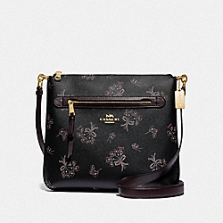 MAE FILE CROSSBODY WITH RIBBON BOUQUET PRINT - F76934 - IM/BLACK PINK MULTI