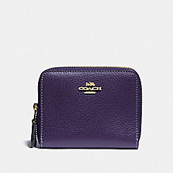 COACH F76935 - SMALL DOUBLE ZIP AROUND WALLET DARK PURPLE/IMITATION GOLD