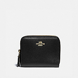 COACH F76935 Small Double Zip Around Wallet BLACK/GOLD