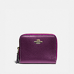 COACH F76935 - SMALL DOUBLE ZIP AROUND WALLET IM/METALLIC BERRY