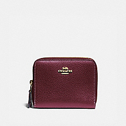 COACH F76935 Small Double Zip Around Wallet IM/METALLIC WINE