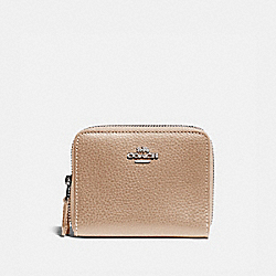 COACH F76935 Small Double Zip Around Wallet SV/PLATINUM