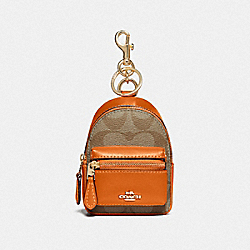 COACH F76937 Backpack Coin Case In Signature Canvas KHAKI/DARK ORANGE/GOLD