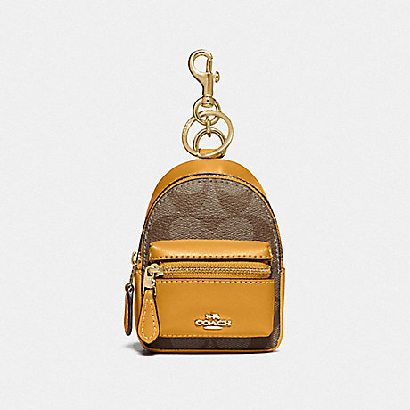 COACH F76937 BACKPACK COIN CASE IN SIGNATURE CANVAS KHAKI/MUSTARD YELLOW/GOLD