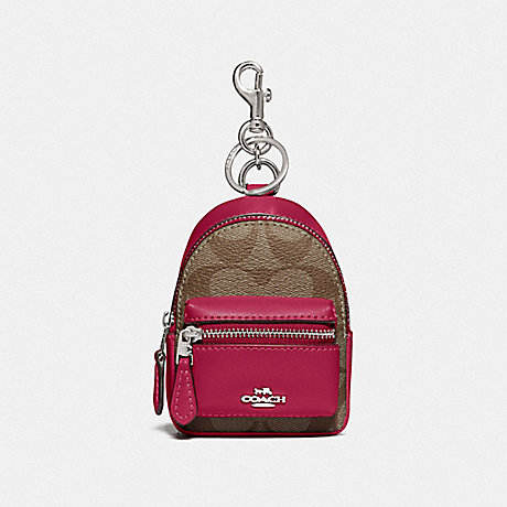 COACH F76937 BACKPACK COIN CASE IN SIGNATURE CANVAS SV/KHAKI DARK FUCHSIA