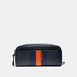 COACH F76945 Dopp Kit With Baseball Stitch MIDNIGHT NAVY/ CADET/ DARK ORANGE/BLACK ANTIQUE NICKEL