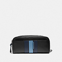 COACH F76945 - DOPP KIT WITH BASEBALL STITCH BLACK/ MIDNIGHT NAVY/ WASHED BLUE/BLACK ANTIQUE NICKEL