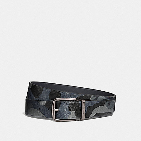 COACH F76949 CUT-TO-SIZE REVERSIBLE BELT IN SIGNATURE CANVAS WITH CAMO PRINT BLUE MULTI/BLACK ANTIQUE NICKEL