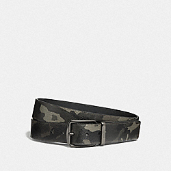 COACH F76953 Cut-to-size Reversible Belt With Camo Print GREEN/BLACK ANTIQUE NICKEL