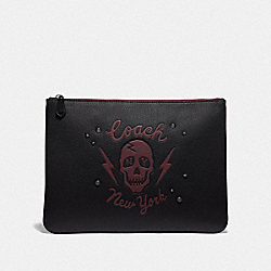 COACH F76963 - LARGE POUCH WITH SKULL MOTIF QB/BLACK MULTI