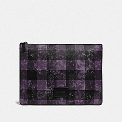 COACH F76964 Large Pouch With Grunge Buffalo Plaid Print QB/DEEP PURPLE