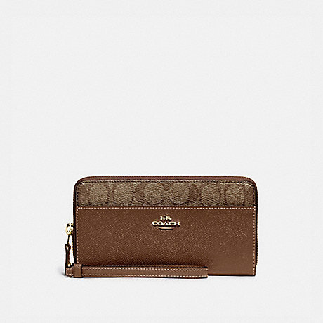 COACH F76971 ACCORDION ZIP WALLET WITH SIGNATURE CANVAS DETAIL KHAKI/SADDLE 2/GOLD