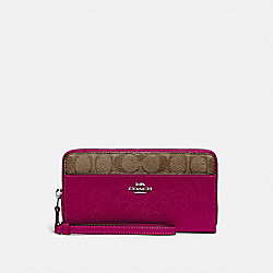 COACH F76971 Accordion Zip Wallet With Signature Canvas Detail SV/KHAKI DARK FUCHSIA