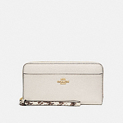 COACH F76972 Accordion Zip Wallet KHAKI/CHALK MULTI/GOLD