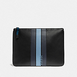 COACH F76973 Large Pouch With Baseball Stitch BLACK/ MIDNIGHT NAVY/ WASHED BLUE/BLACK ANTIQUE NICKEL