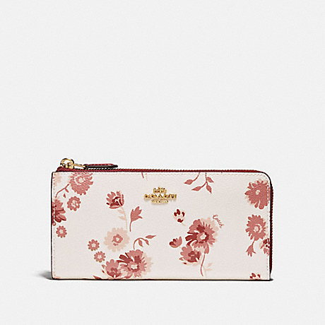 COACH F76974 L-ZIP WALLET WITH PRAIRIE DAISY CLUSTER PRINT CHALK MULTI/IMITATION GOLD
