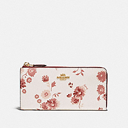 L-ZIP WALLET WITH PRAIRIE DAISY CLUSTER PRINT - F76974 - CHALK MULTI/IMITATION GOLD