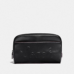 COACH F76982 - OVERNIGHT TRAVEL KIT WITH COACH SCRIPT BLACK/BLACK ANTIQUE NICKEL