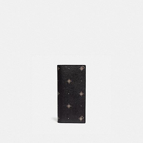 COACH F76984 BREAST POCKET WALLET WITH GEO FOULARD PRINT BLACK MULTI/NICKEL