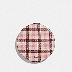 COACH F76992 Gingham Mirror BROWN/PINK