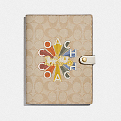 COACH F76993 - NOTEBOOK IN SIGNATURE CANVAS WITH COACH RADIAL RAINBOW MULTICOLOR