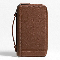 COACH F77254 Camden Pebbled Leather Double Zip-around Travel Organizer