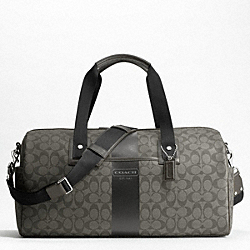 COACH F77278 - HERITAGE STRIPE DUFFLE SILVER/GREY/CHARCOAL
