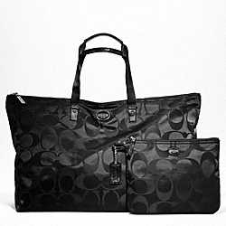 COACH F77316 - GETAWAY SIGNATURE NYLON LARGE PACKABLE WEEKENDER SILVER/BLACK/BLACK