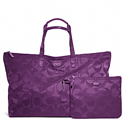 COACH F77316 - GETAWAY SIGNATURE NYLON LARGE PACKABLE WEEKENDER SILVER/AMETHYST
