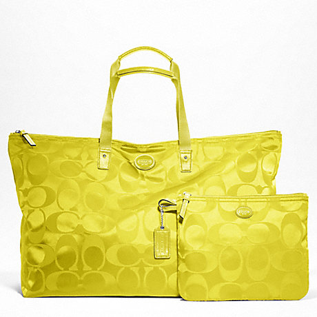COACH f77316 GETAWAY SIGNATURE NYLON LARGE PACKABLE WEEKENDER SILVER/CITRINE
