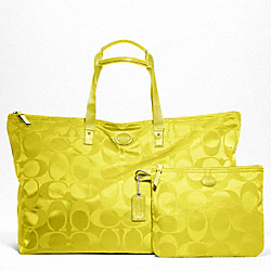 GETAWAY SIGNATURE NYLON LARGE PACKABLE WEEKENDER - f77316 - SILVER/CITRINE